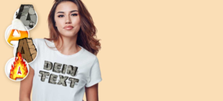 Junge Frau in weißem T-Shirt mit 3D Effektschriften.