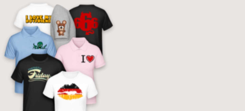 T-Shirts in verschiedenen Farben bedruckt mit coolen Motiven